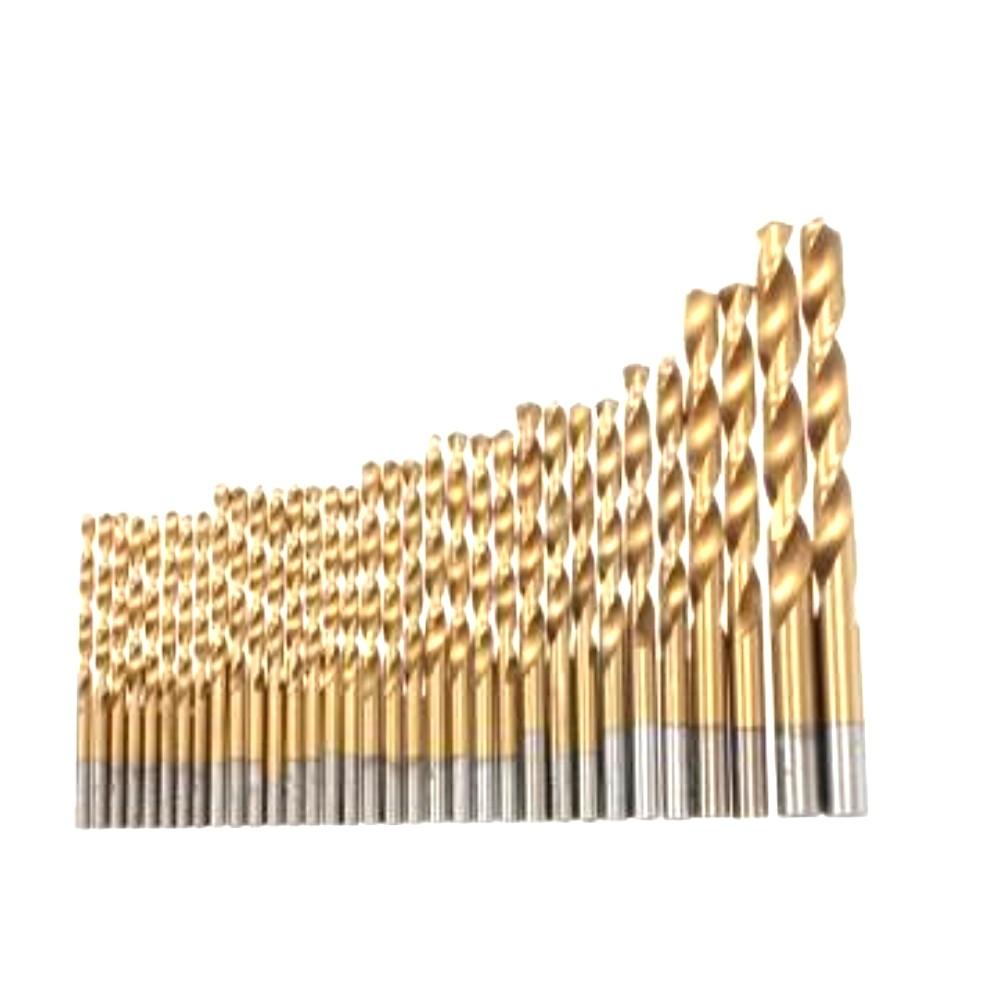 Set 99 Punte Trapano In Titaniu Dorate Per Legno Ferro Alluminio Valigetta In Alluminio